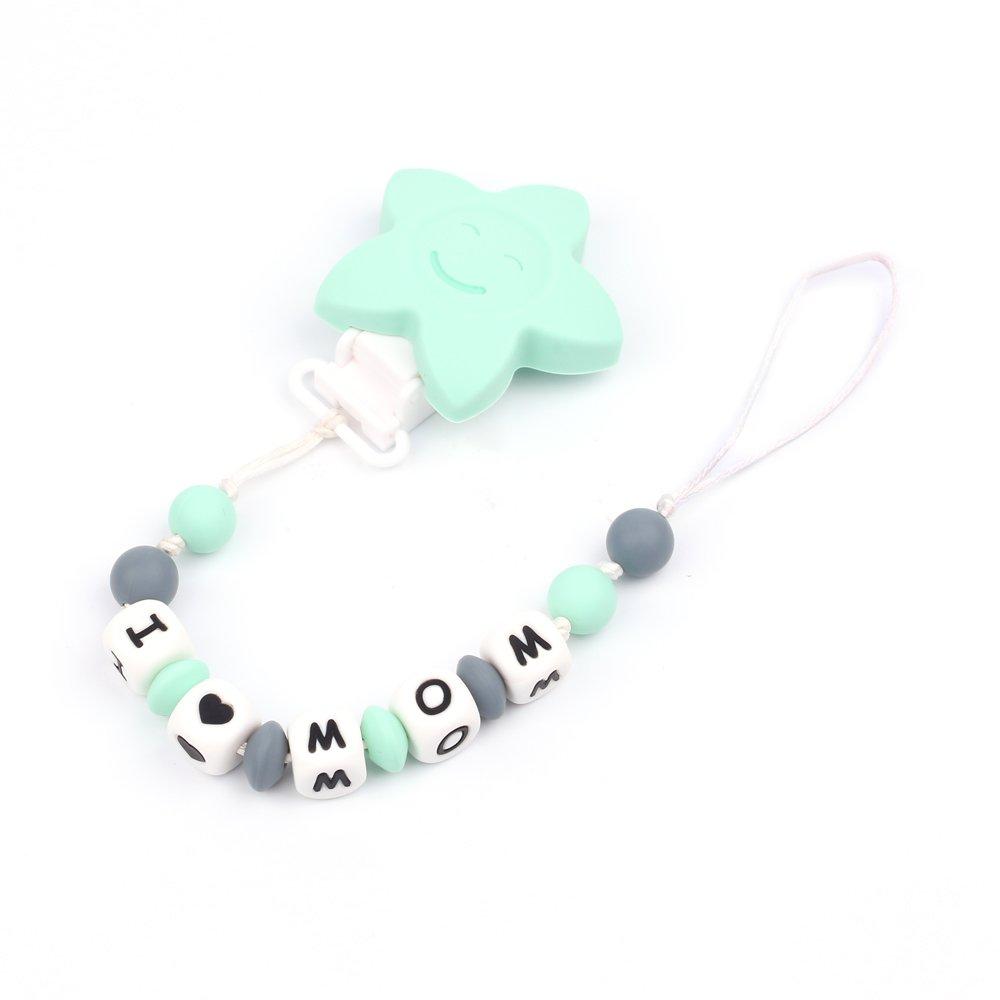 TYRY.HU Dummy Clips Baby silicone ciuccio portacatena dentizione giocattoli perline masticabili per neonato ragazzi e ragazze doccia regalo universale Fit (verde menta)