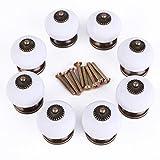 Drawer Handles, Lance Home 8pcs Ceramic Door Handles Ceramic Drawers Cabinet Knob Pulls (White)