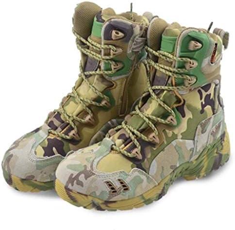 タクティカルブーツ迷彩オックスフォード布ハイヘルプレースアップスタイルの登山靴滑り止め耐摩耗耐久性に優れたラバーソール (色 : 緑, サイズ : 27 CM)