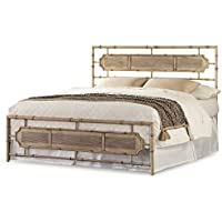 Laughlin Snap Bed with Naturalistic Wooden Inspired Panels and Folding Metal Side Rails, Desert Sand Finish, Queen