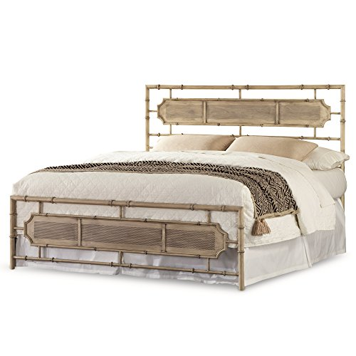 Leggett & Platt Laughlin Snap Bed with Naturalistic Wooden Inspired Panels and Folding Metal Side Rails, Desert Sand Finish, Queen ()
