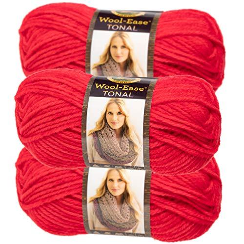 Lion Brand Yarn (3 Pack) Acrylic & Wool Chunky Yarn for Knitting Crocheting Soft Yarn Bulky #5