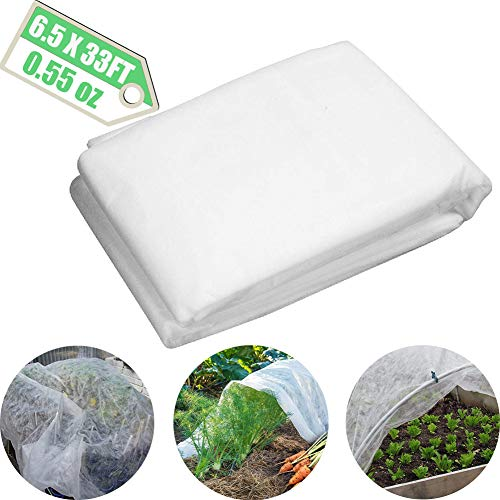Bullkeys Plant Covers Freeze Protection Floating Row Cover Winter Garden Rowing Covers 0.55oz 6.5x33Ft