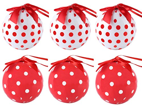 Cue Cue Festive Ready to Hang ( 24 Piece ) 12 Red + 12 White Polka Dots Ornament Set by Cue Cue