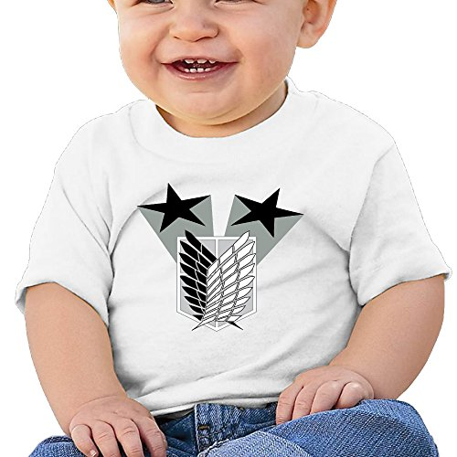 Price comparison product image Boss-Seller Attack On Titan Short Sleeve Shirts For 6-24 Months Newborn Baby Size 18 Months White