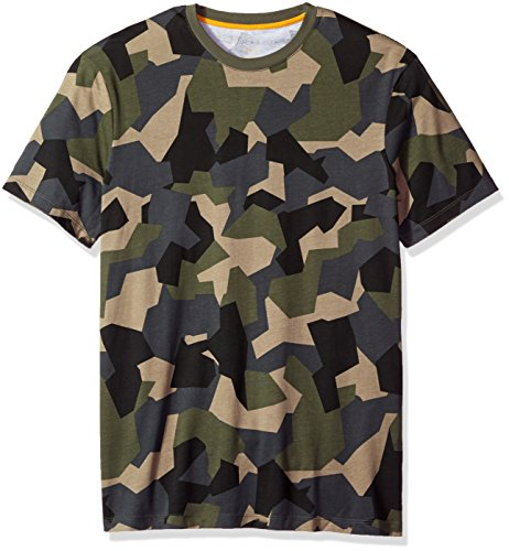 A|X Armani Exchange Men's Camo Printed Crew Neck Tee, Geocentric Camo Gree, Medium