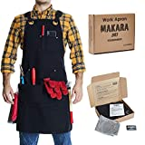Shop, Work Apron - Waxed Canvas woodworking apron with 6 Spacious Pockets - Durable Apron Tool with Microfiber Towel Included - No Neck Pain, Smart Cross-Back Straps Design - Fully Adjustable S to XXL