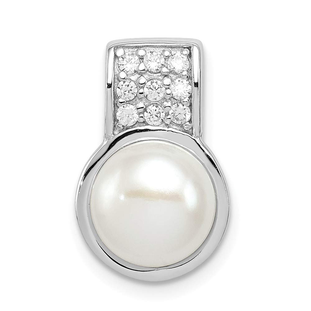 Jewelry Stores Network Sterling Silver CZ White Cultured Pearl Pendant 16x11mm