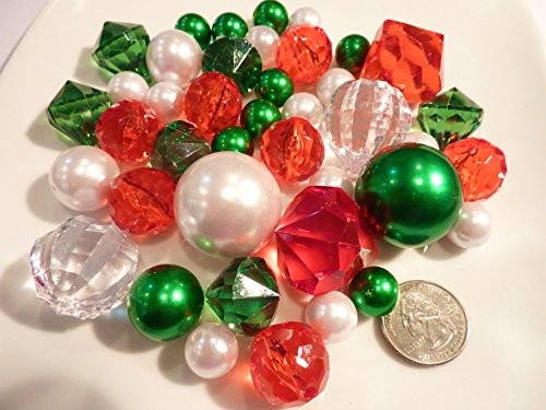 40 Floating Unique Christmas Holiday Jumbo/Assorted Sizes Green, White Pearls, Red, Green and Sparkling Gems Vase Fillers for Decorating Centerpieces + Free Transparent Water Gels Jumbo Packet by Vase Pearlfection (Image #3)