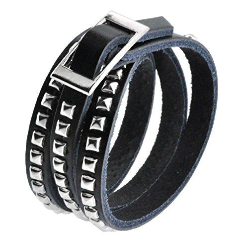 Mandala Crafts Leather Silver Tone Metal Stud Simple Elegant Wrap Around Bracelet (Black)