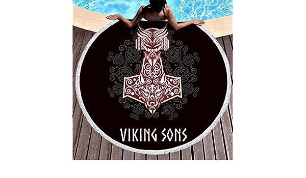 Hammer vikingo étnico Odin Fenrir Wolf Tatuaje impresión ronda ...