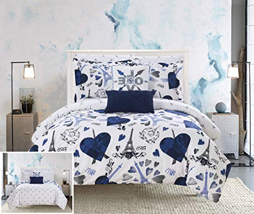 Piece Reversible Comforter Set Paris is Love Inspired Printed Design Bed in a Bag - Sheet Set Decorative Pillows Sham Included, Twin/Twin XL Size, Navy ()