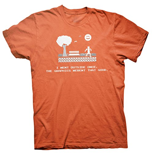 i-went-outside-once-the-graphics-werent-that-good-funny-gamer-youth-t-shirt-orange