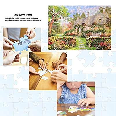 Oil Painting Village Hill Bridge Landscape Jigsaw Puzzles 1000 Pieces for Adults Kids Toys Family Fun Games Creative DIY Painting, Home Decoration: Toys & Games