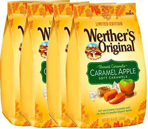 (NEW Werther's Original Limited Edition Halloween Pumpkin Spice/Caramel Apple Soft Caramels - 9.4oz (Caramel Apple,)