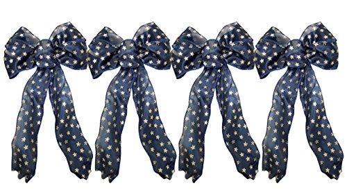 Blue Stars Ribbon (Set of 4 Black Duck Brand Blue Star Wired Ribbon Bows (blue stars))