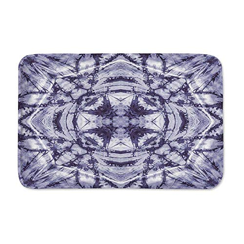 YOLIYANA Tie Dye Decor Anti Slip Rubber Back Doormat,Modern Form Generated by Resisting Twisting Fractal Saturated Effects for Living Room,23
