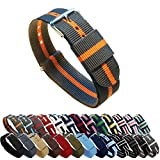 BARTON Watch Bands - Choice of Color, Length & Width (18mm, 20mm, 22mm or 24mm) - Smoke/Pumpkin 22mm - Standard Length