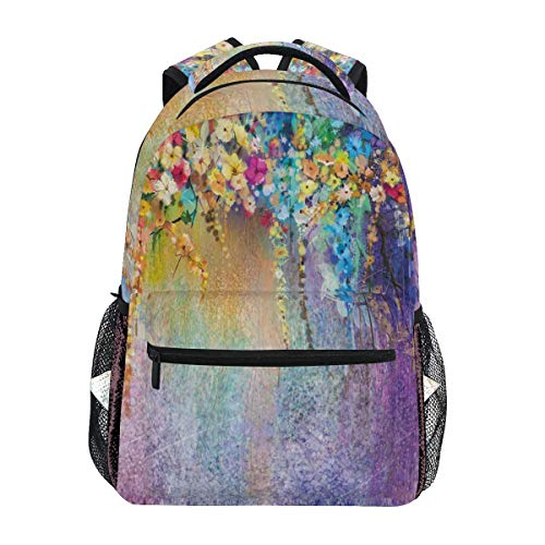YCHY Abstract Herbs Weeds Blossoms Ivy Back With Florets Shrubs Design Lightweight School Backpack Students College Bag Travel Hiking Camping Bags