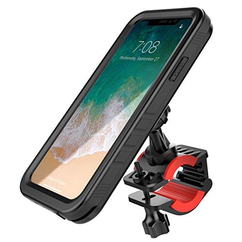 iPhone X Bicicleta Impermeable Funda, Soporte Movil Bicicleta Resistente al Agua Carcasa para iPhone X 360° Rotating Bici Handlebar Mount Holder Soporte para Bicicletas Ciclismo de Montaña (Negro) Negro