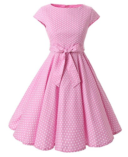[Ensnovo Womens Cap Sleeve 1950s Vintage Rockabilly Swing Cocktail Evening Dress Pink S] (Sally Brown Costume)
