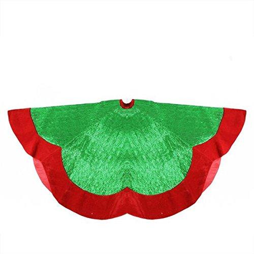 60'' Green Metallic Pleated Red Velvet Trimmed Scalloped Edge Christmas Tree Skirt