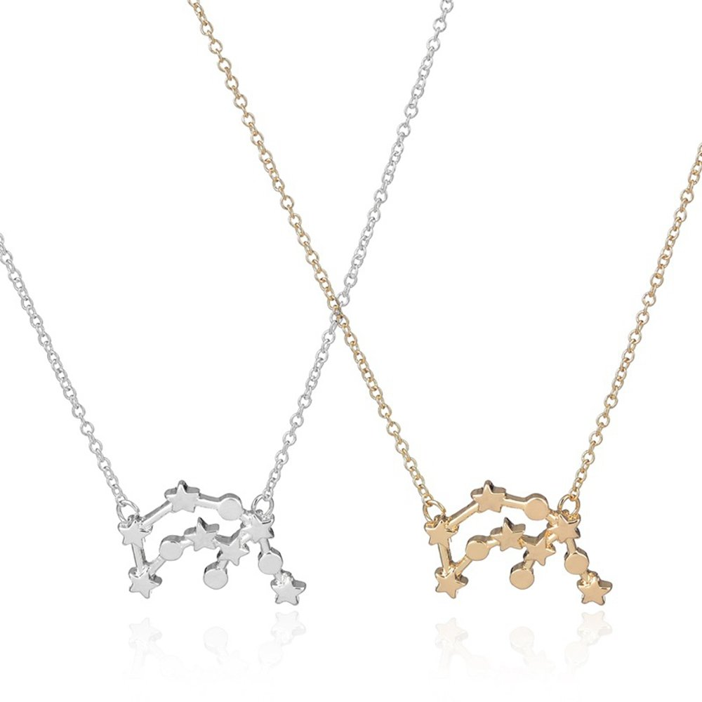 CHOA 14K Gold Plated Astrology 12 Constellation Horoscope Zodiac Necklace 16-18