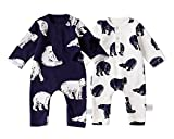 2 Pack Baby Boy Romper Cotton Fabric, Baby Boy's Bodysuit, Bear Patterns Cover Style Infant Romper 0-18M