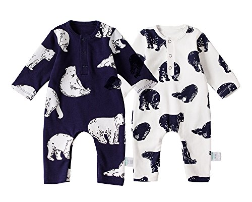 2 Pack Baby Boy Romper Cotton Fabric, Baby Boy's Bodysuit, Bear Patterns Cover Style Infant Romper 0-18M by Brogrun