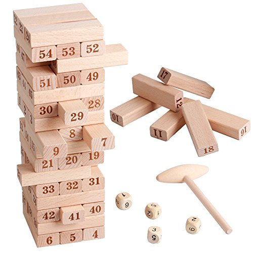 Wooden Stacking Board Math Games Tumble Tower Building Blocks 54 Pieces