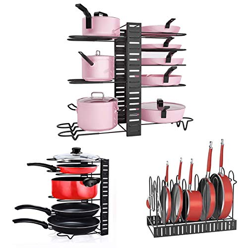 Fimghsoo Pannenrekken Verstelbaar Pnnenhouder Afneembaar met 8 Verstelbare Vakken voor Keuken Teller Kabinet Pantry