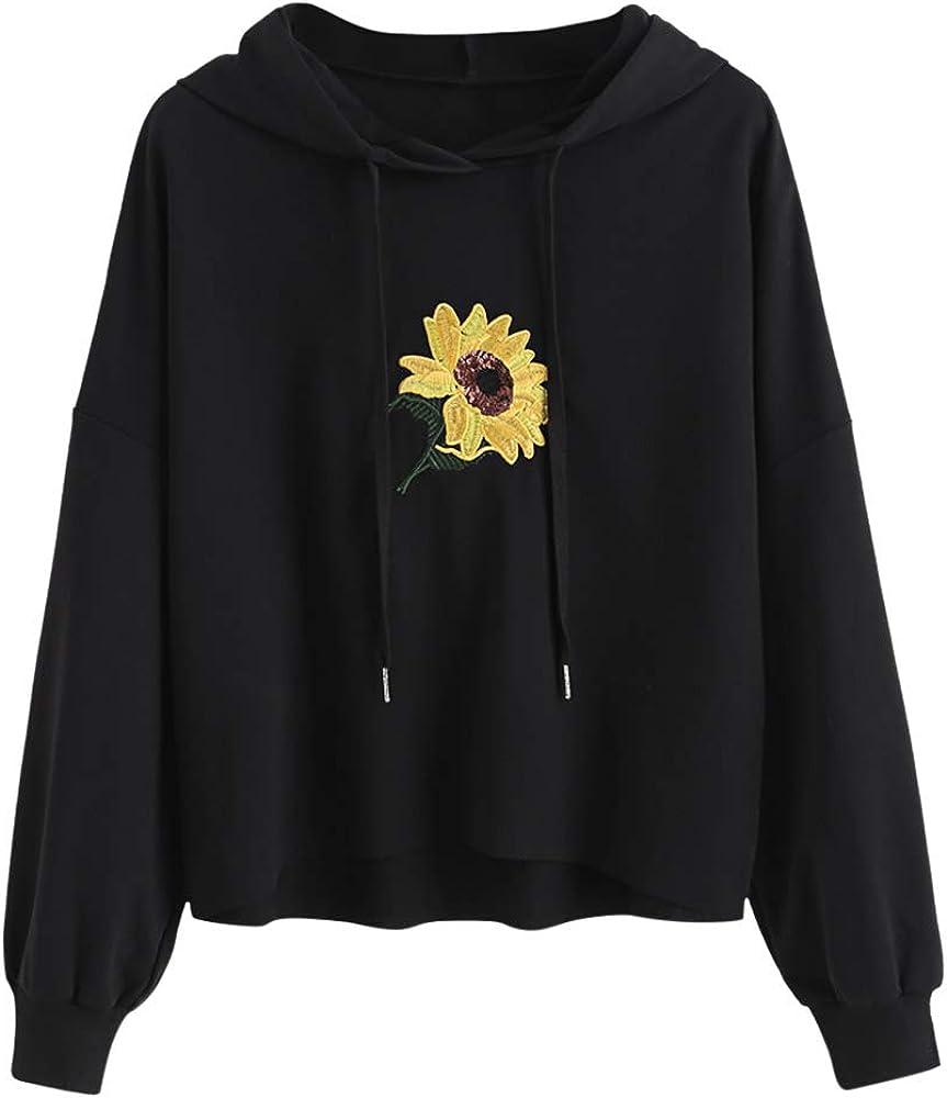 ZAFUL Damen Kapuzenpullover mit Paillette Blume-Gestickt Kordelzug Langarm Tops Hoodie