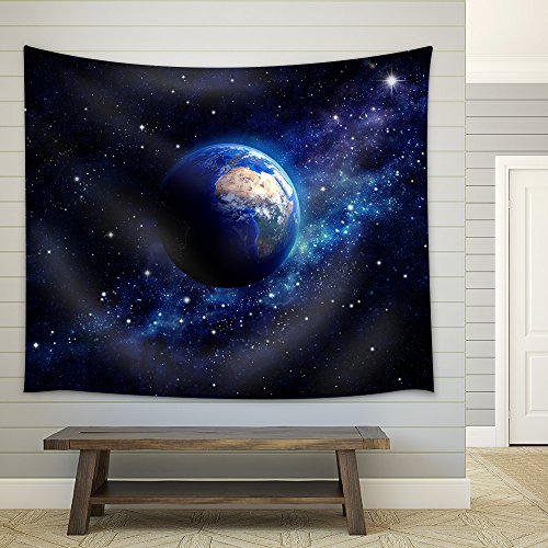 Imaginary view of planet earth in a star field Elements of this image furnished by NASA Fabric Wall