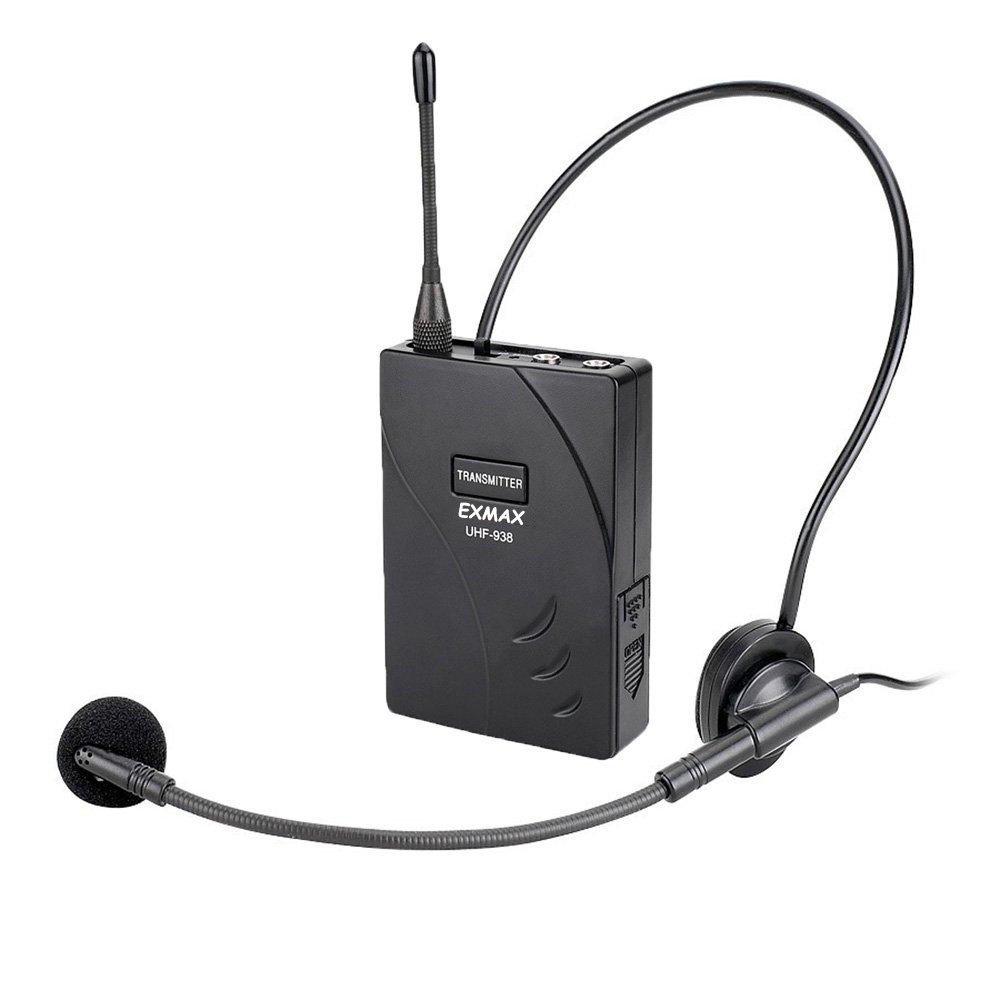 EXMAX UHF-938 UHF Acoustic Transmission Wireless Headset Microphone Audio Tour Guide System 433MHz for Church Translation Teaching Travel Simultaneous Interpretation 1 Transmitter and 2 Receivers