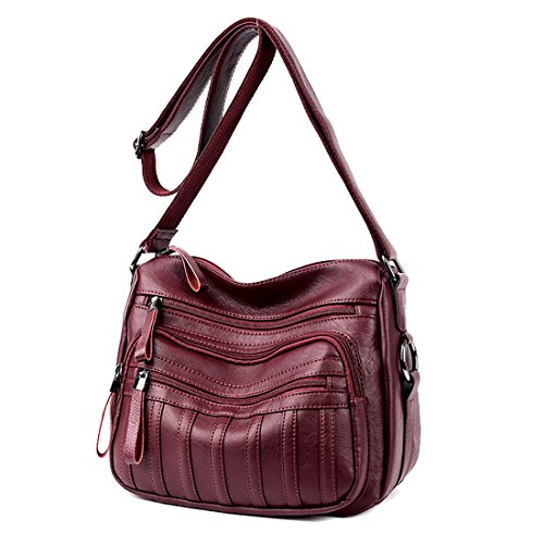 Ladies Bag Leather Many Red Cross Body Shoulder Compartments Versatile Zip Wine Handbag PU Messager with wrAfIr