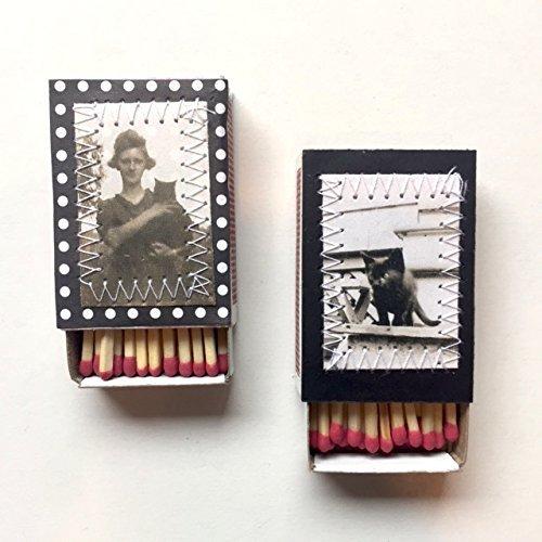 - Cat Lady Matchbox Decorative Set of Two Matches Mini Matchboxes Vintage 1920s hotograph Matches Wedding Favor Matches