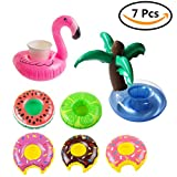LANIAKEA Cute Pool Floats for Drinks, Drinking Float for Pool Party, Cup & Cans Holders, Pool Toys, 7 pcs Drink Floaties, Coconut Tree, Flamingo, Watermelon, Lemon, Donuts