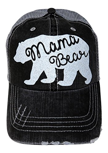 Glitter Mama Bear Distressed Look Grey Trucker Cap Hat Fashion (White (Quote Womens Cap)