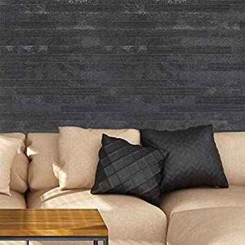 Wallpaper Charcoal Gray Black Tile Animal Skin Faux Fur Textured Rectangular 3D