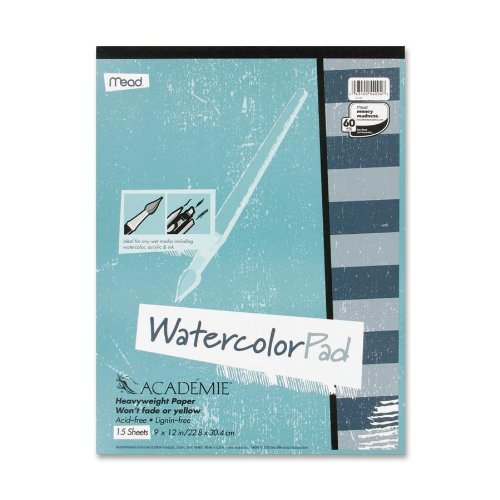 - Mead Academie Watercolor Pad, 15 Sheets, 9 x 12 Inch Sheet Size (54096)