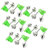 uxcell 10 Pcs Green Spring Loaded Clip Double Fishing Rod Alarm Bells Silver Tone