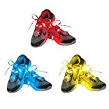 Dsaren 3 Pairs Glow LED Shoelaces Nylon Shoestrings with 4 Flashing Modes Light Up Shoe Laces for Adults Kids Dancing Running Hiking Skating Night Party (Red + Yellow + Blue)