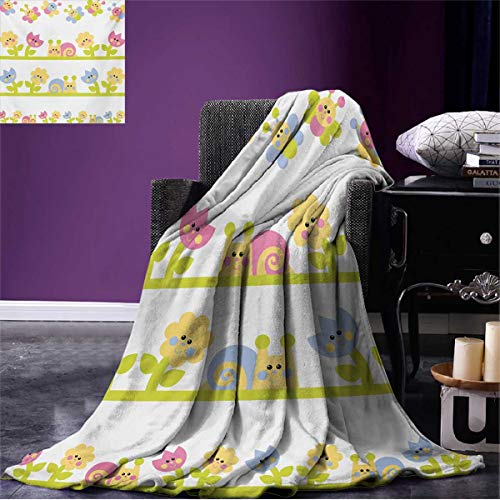 Blanket Cartoon Character Bees Tulip and Daisy Flowers Snails Garden Pattern Beach Baby Blue Pale Green Yellow W50 x L30 inch ()