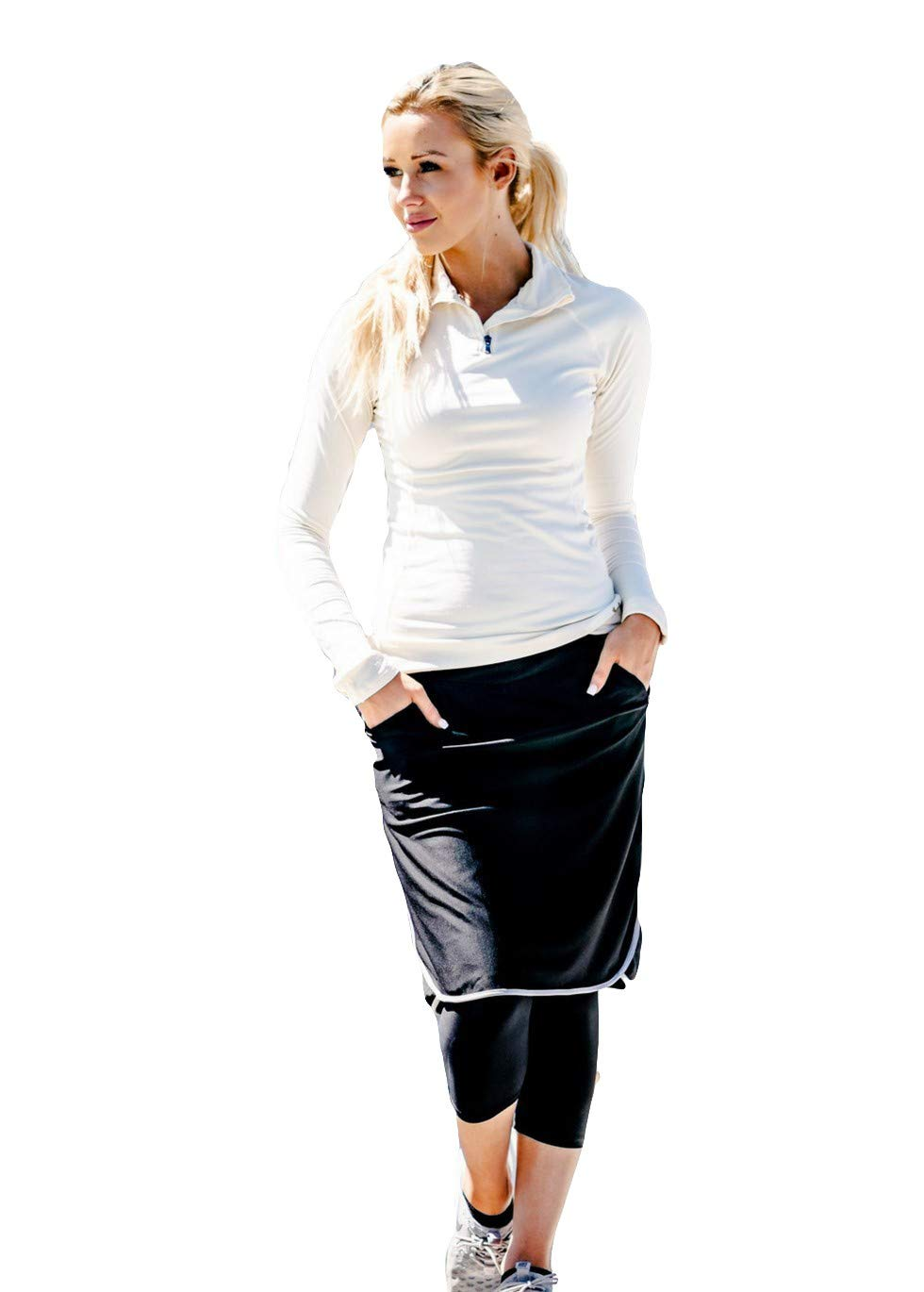 Ella Mae Sports Skirt for Women: Knee-Length Workout Skirt w/Attached Leggings Grey