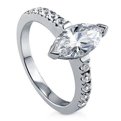 BERRICLE Rhodium Plated Sterling Silver Cubic Zirconia CZ Solitaire Engagement Ring Size 6