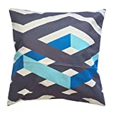 "Monkeysell Geometric linellae Pattern Linen modern style Square Decorative Fashion Throw Pillow Cover-18""x18"" (Blue)"