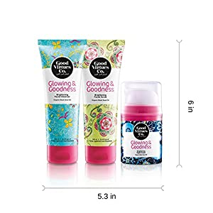 Good Virtues Co. Gift Set for Women, Facial Cleanser (3.4 oz), Facial Scrub (3.4 oz) and Night Cream for Face (1.52 oz), Pack of 3