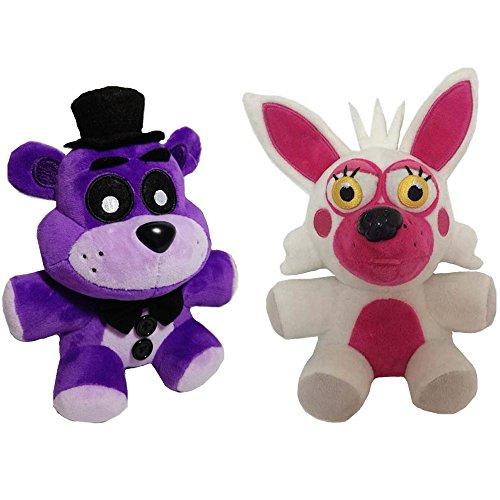 Soft and Beautiful Toys New Foxy & Purple Freddy Bear Stuffed Animal Plush Toys (Nightmare Fredbear Costume)