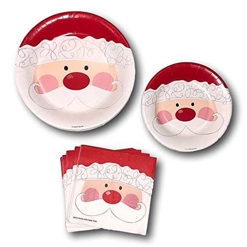Christmas Holiday Santa Party Paper Plates and Napkins Bundle - Party Pack Set Includes Disposable Dinner Plates - Dessert Plates and Napkins