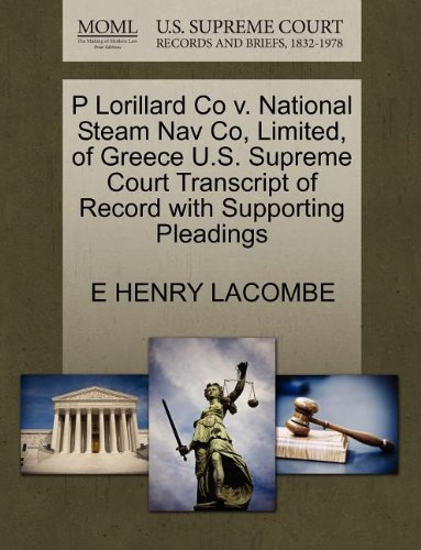 P Lorillard Co v. National Steam Nav Co, Limited, of for sale  Delivered anywhere in USA